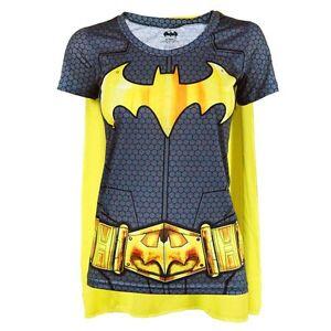 9c20fea3 Womens DC Comics Batman Superhero Costume T Shirt with Cape Black ...