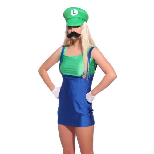 Adult Boys Super Mario Luigi Bros Brothers Costume Workmen Fancy Dress Outfit