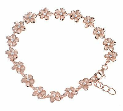 """Jewelry & Watches Fashion Jewelry Audacious Pink Rose Gold Silver 925 Hawaiian Fancy Plumeria Flower Anklet Cz 8mm 10""""+"""