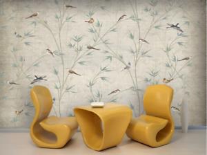 Papel Pintado Mural De Vellón Flores Pájaros Arboles 2 Paisaje Fondo De Pansize