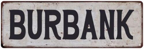 BURBANK Vintage Look Rustic Metal Sign City State 106180041104