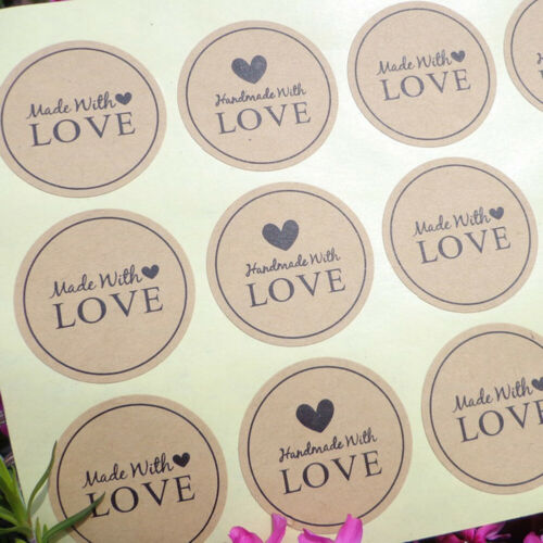 120Pcs Handmade With LOVE Gift Seal Craft Stickers Labels DIY Wedding Favour Tre