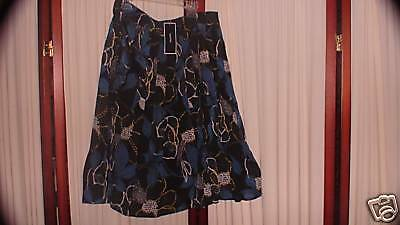 NWT Womens Silk Cotton Floral Aqua Skirt Alfani 12 NEW