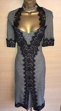 Exquisite Karen Millen Grey Tweed Black Lace Trim Plunge Wiggle Dress Uk10