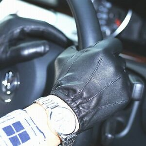 New-Men-039-s-Police-Gloves-Real-Leather-Brown-Black-Driving-Gloves-Size-S-M-L-XL
