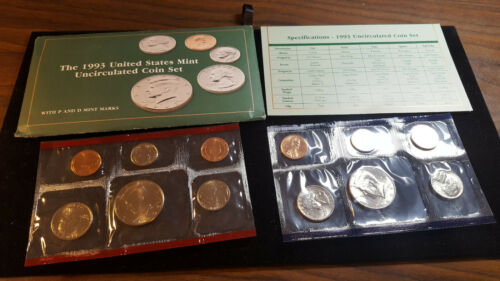1993 US Coin Mint Set 2 Kennedy Half Dollars10 Coin Set Flatpack Free Shipping 1