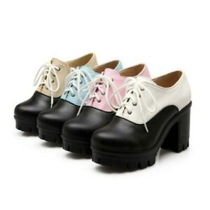 Women-039-s-Chunky-Block-High-Heel-Lace-Up-Dress-Pumps-Casual-Platform-Shoes-Creeper