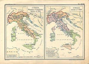 Italia Cartina Antica.Carta Geografica Antica Italia Nel 600 E Nel 1000 1945 Old Antique Map Ebay