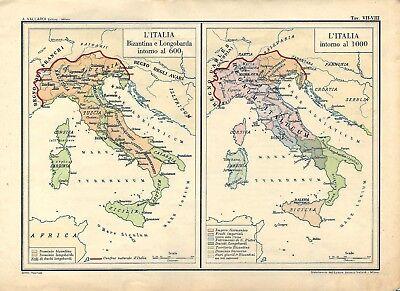 Cartina Politica Italia Alta Definizione.Carta Geografica Antica Italia Nel 600 E Nel 1000 1945 Old Antique Map Ebay