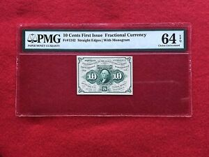 FR-1242-First-Issue-10c-Cent-Fractional-Postage-Currency-PMG-64-EPQ-CHOICE-UNC