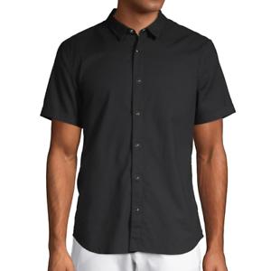 John-Varvatos-Star-USA-Men-039-s-Short-Sleeve-Clark-Snap-Front-Solid-Shirt-Black