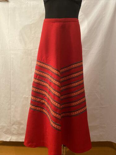 Finnish Vintage Arola 1970s red Maxi Skirt