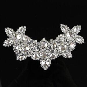 Sew Iron On Beaded Clear Rhinestone Applique Trim Silver Bridal Dress Sash Craft