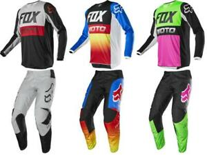 Fox Racing Mens Blue//White 180 Prix Dirt Bike Jersey and Pants Combo Kit MX ATV