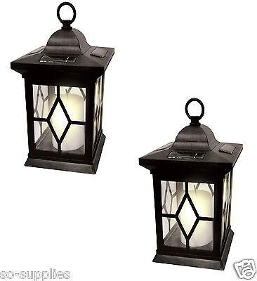 2 X SOLAR POWERED HANGING CANDLE LANTERN GARDEN TABLE LAMP OUTDOOR COACH LIGHT