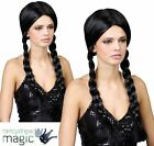 Adult School Girl Black Plaits Wig Fancy Dress Plait Ladies Wednesday Pigtails