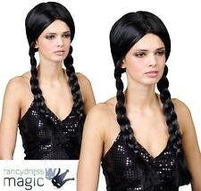 Adult School Girl Black Plaits Wig Fancy Dress Plait Ladies Wednesday Pigtails