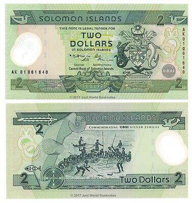 Solomon Islands 2 Dollars 2001 Polymer Commemorative Banknotes P-23  UNC