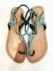 bc2a2be6199af Designer BNWOB Maliparmi Size 39 Aqua Beaded Leather Women s Sandals ...