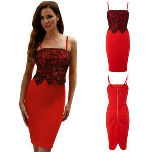 ec564d23ca Details about Black Lace on Red Spaghetti Strap Formal Cocktail Party Midi  Dress Slim Bodycon