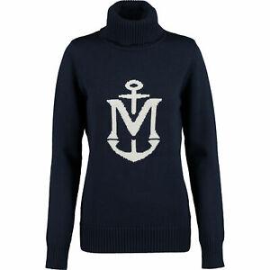 MUSTO-Women-039-s-Navy-Anchor-Leigh-Roll-Neck-Wool-Blend-Jumper-UK10