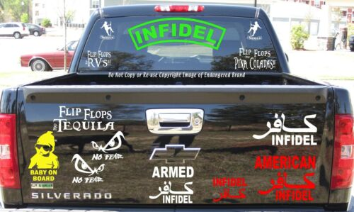 Infidel Curved 2 Banners ISIS Patriot Military American Decal Sticker
