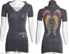 Sinful Dakota Fleur Skull Shield Womens LS Hoodie Sweater Dress Top Pink XS S M
