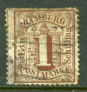 Germany-1864-Hamburg-1-Shilling-Brown-perf-13-SG-20-VFU-I317