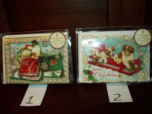 NEW BOXED PUNCH STUDIO HOLIDAY CHRISTMAS EMB NOTE CARDS ENV 6 CT DOG PUP FROG