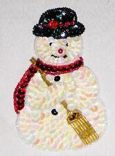 "Decorative Fancy Craft 4 1/2"" Bead Sequin SNOWMAN Patch"