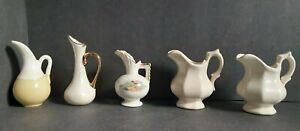 5 Mini Bud Vases Porcelain Doll House Deco Japan Vintage
