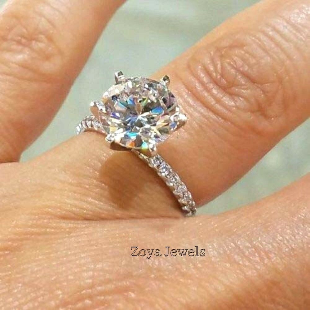 cbeca7004fcb7 14k in Engagement solitaire Moissanite White Round 4Ct Certified ...