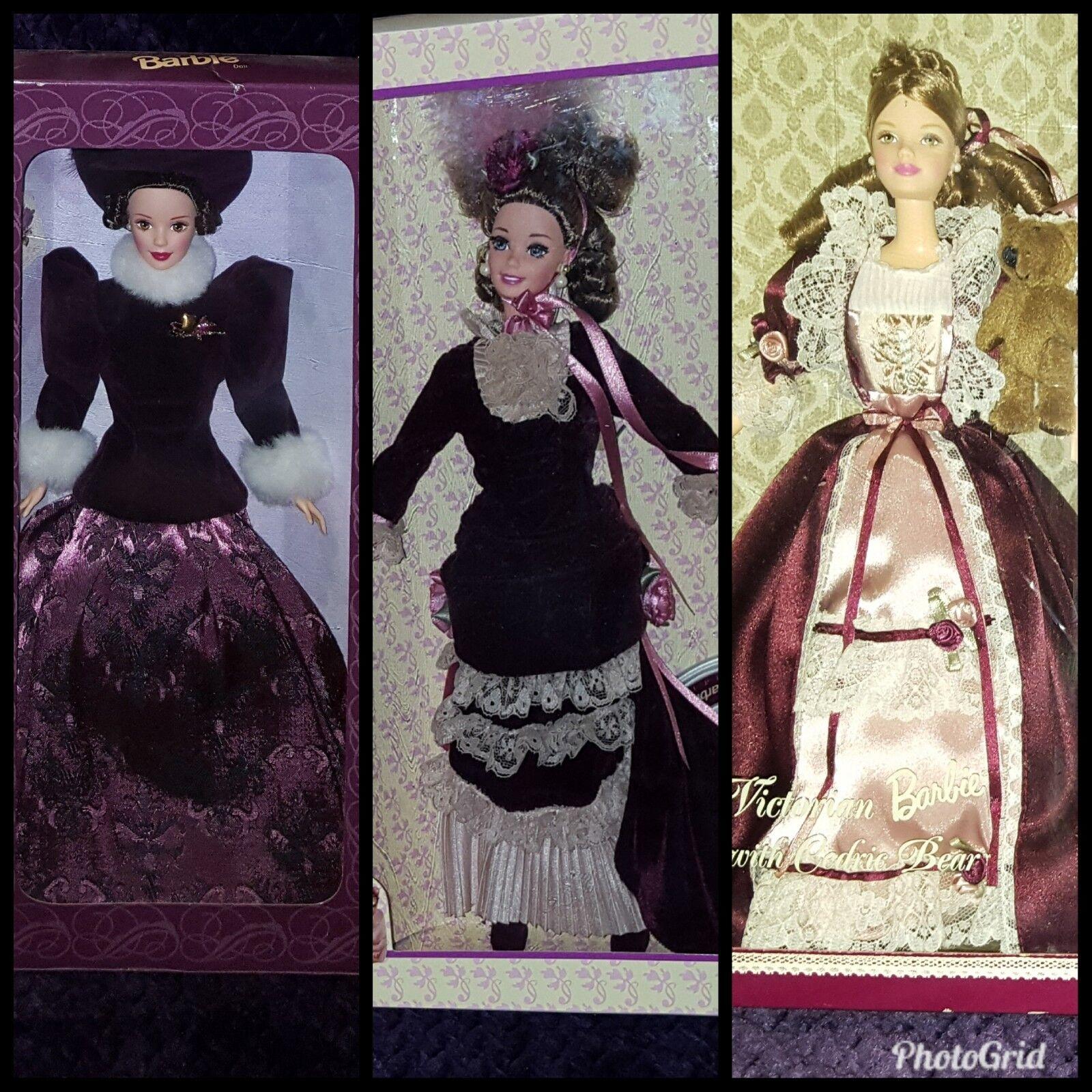 3 Colector Barbies (Holiday Traditions Victoriano, Vic. Dama, & Vic. con oso) Nueva En Caja
