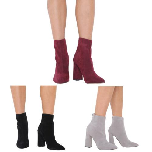 NEW LADIES HIGH BLOCK HEEL ZIP UP CHELSEA ANKLE BOOT SHOES SIZE 3-8