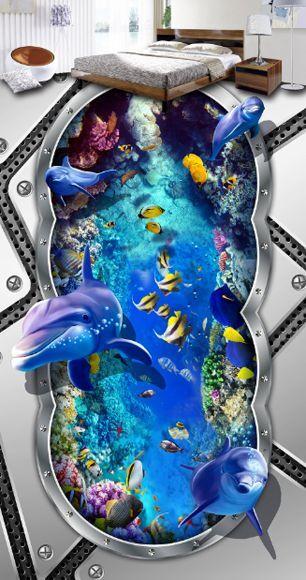 3D Dolphin sea water8330 Floor WallPaper Murals Wall Print Decal 5D AJ WALLPAPER