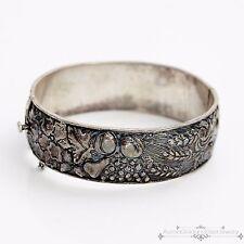 Antique Vintage Deco Sterling 833 Silver Portuguese Repousse Hinged Bracelet!