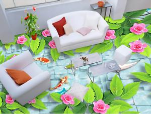 3D Green leaf flower 523 Floor WallPaper Murals Wall Print Decal 5D AJ WALLPAPER