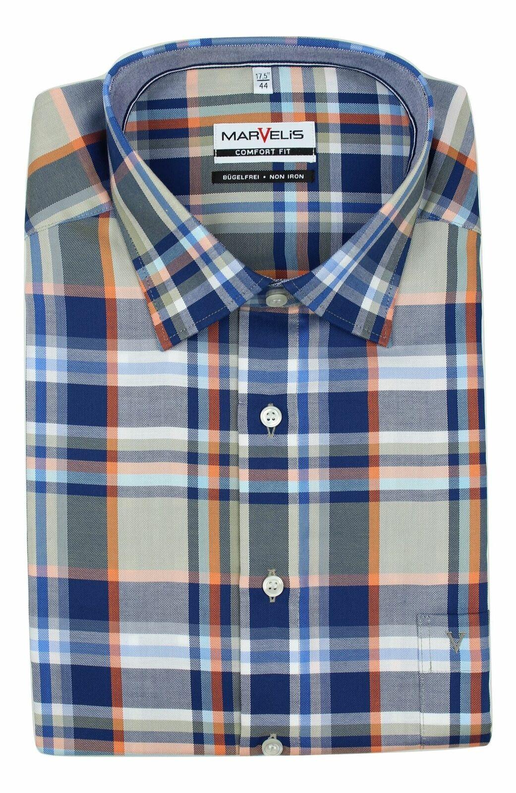 Orange Mix Bold Check Oxford Spread Collar