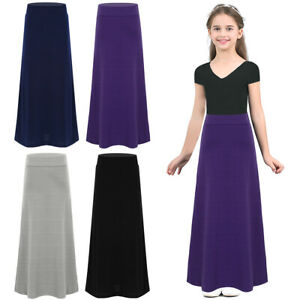 Children Girls Full Circular Pleated Long Maxi Skirt With Elasticated Waist UK