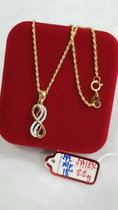 Gold-Authentic-18k-gold-necklace-18-inches-chain-with-pendant
