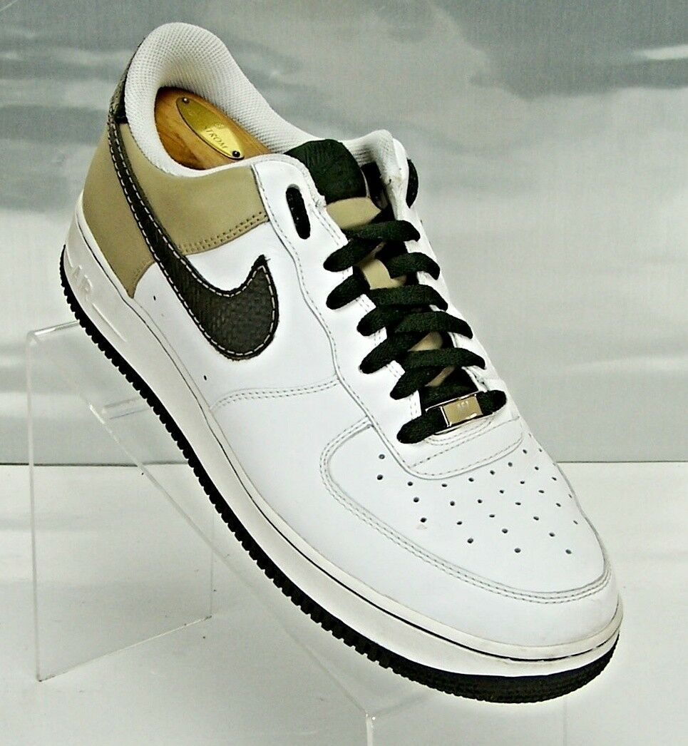 NIKE AIR FORCE LOW WHITE DARK ARMY GREEN OLIVE MODEL 315122-131 MEN Size 10.5