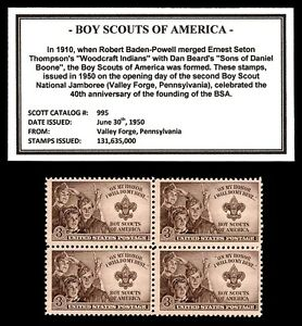 1950-BOY-SCOUTS-OF-AMERICA-BSA-Block-of-four-Vintage-U-S-Postage-Stamps
