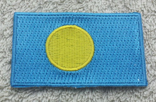PALAU FLAG PATCH Embroidered Badge Iron Sew on 3.8 x 6cm Pelew Beluu er a Belau