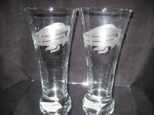 BUFFALO BILLS 2 ETCHED LOGO PILSNER GLASSES 20oz NEW