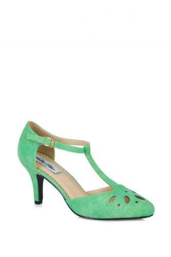 Size Vintage Lulu Green 8 Summer High Hun Bar T Cut Joan Heel Floral Mint Style zwO1qzr