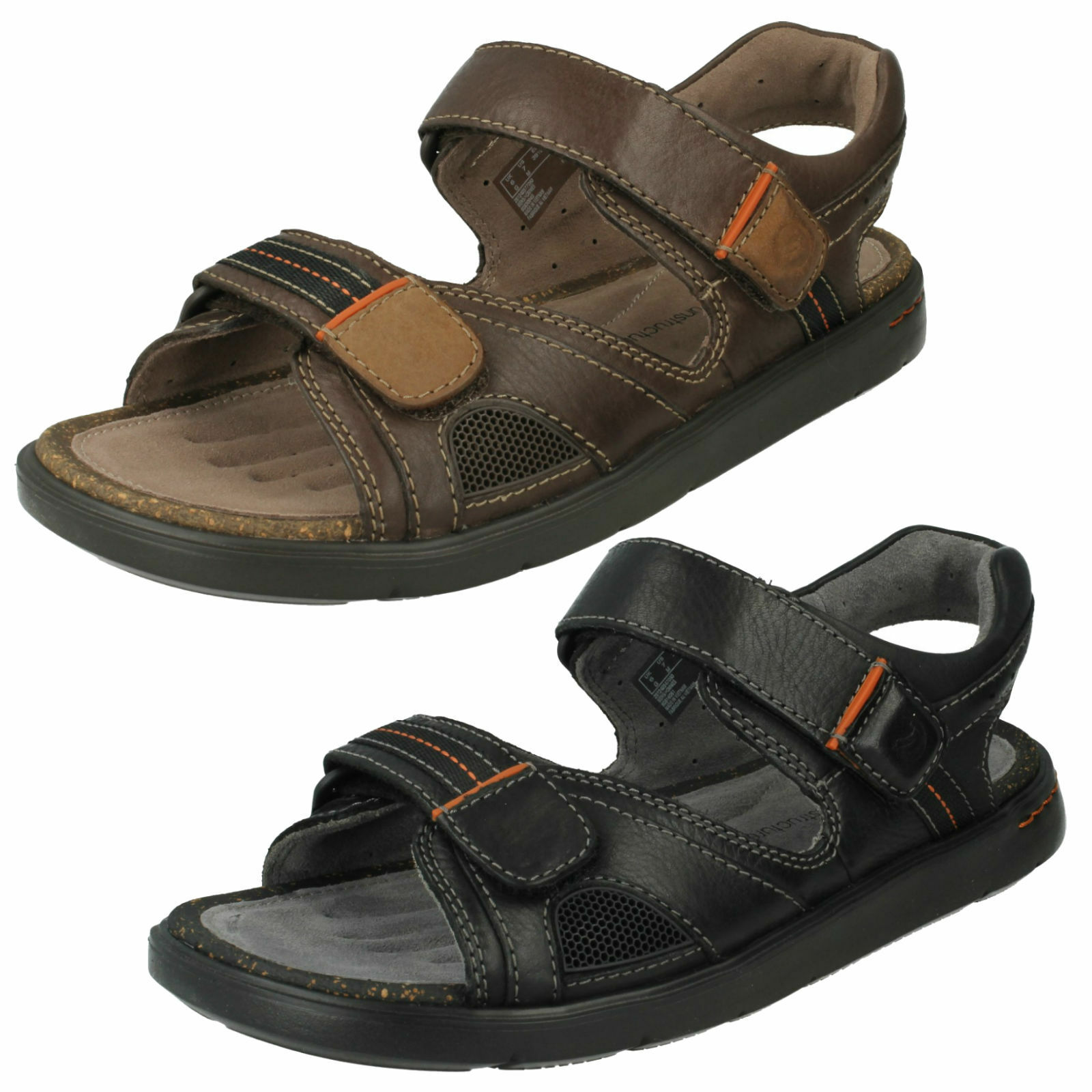 MENS UNSTRUCTURED SUMMER CLARKS LEATHER RIPTAPE OPEN TOE SUMMER UNSTRUCTURED SANDALS UNWILMORE SUN 39fe2b