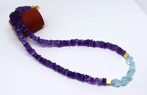 Amethyst-mit-Blautopas-Kette-Edelsteinkette-lila-himmelblau-Collier-halskette