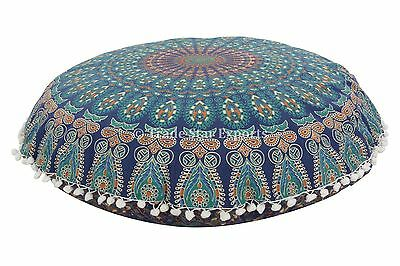 "Round Mandala Floor Pillows 32"" Indian Ottoman Poufs Throw Cushion With Insert"
