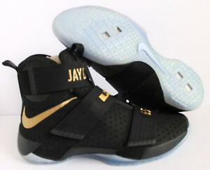 official photos 93c4f e337b NIKE iD ZOOM LEBRON SOLDIER 10 CHAMPIONSHIP BLACK GOLD SZ 16 ...