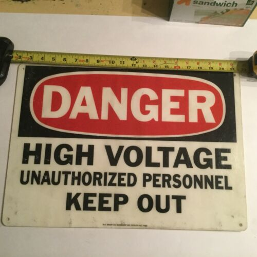 Danger High Voltage Sign Fiberglass large 20x14 Unautherized Personel Keep Out